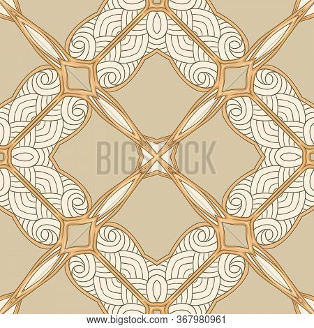 Seamless Pattern, Background. Colored Vector Illustration In Art Nouveau Style, Vintage, Old, Retro