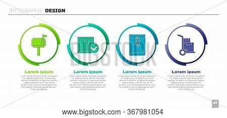 Set Mail Box, Wooden Box With Check Mark, Envelope And Hand Truck And Boxes. Business Infographic Te