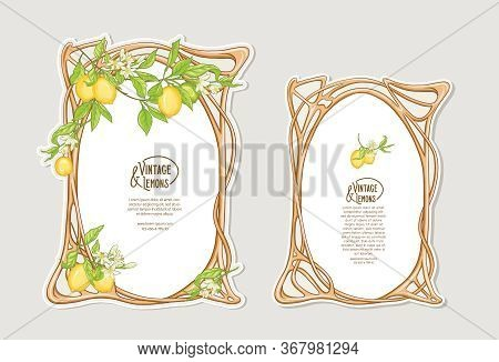 Set Of Frames In Art Nouveau Style With Lemon Fruits And Flowers Branches. Good For Product Label. C
