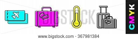 Set Airline Ticket, Suitcase, Meteorology Thermometer And Suitcase Icon. Vector.
