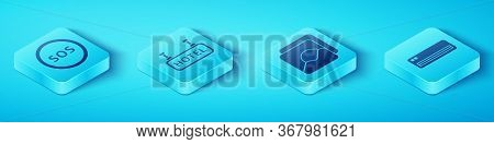 Set Isometric Location With Sos, Signboard With Text Hotel, Air Conditioner And Photo Icon. Vector.