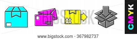 Set Carton Cardboard Box, Envelope, Cardboard Box With Traffic Symbol And Cardboard Box With Traffic