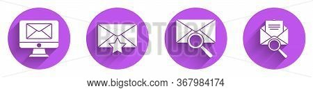 Set Monitor And Envelope, Envelope With Star, Envelope With Magnifying Glass And Envelope With Magni