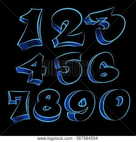 Blue Different Figures . Modern Type Grafitti Design