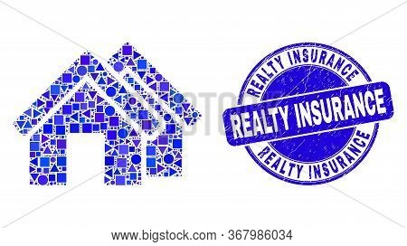 Geometric Houses Mosaic Pictogram And Realty Insurance Seal Stamp. Blue Vector Round Textured Seal S