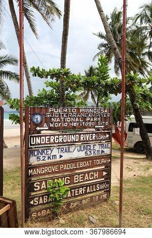 Palawan, Philippines - November 29, 2017: Tourist Direction Signs At Sabang Beach In Palawan, Philip