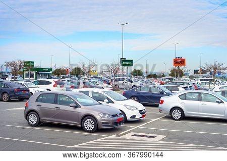 Larnaca, Cyprus - Feb 21, 2019: Cars For Rent At Parking Lot At Larnaca International Airport.
