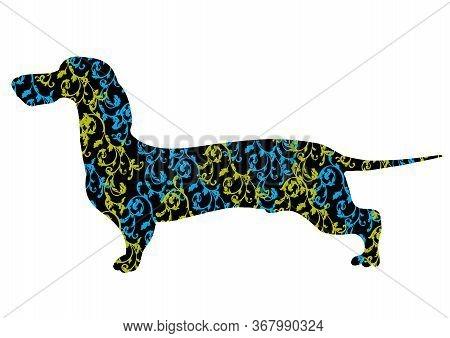Dog Breed Dachshund Vector Illustration. Elegant Silhouette Of A Dachshund Dog With An Ornament.