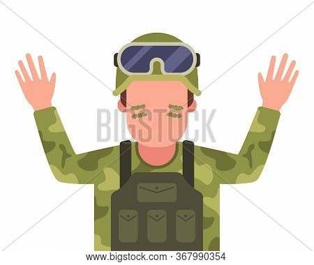A Captured Soldier Raises His Hands And Surrenders. Flat Character Vector Illustration.