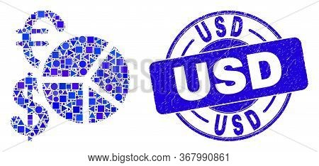 Geometric Currency Pie Chart Mosaic Icon And Usd Seal Stamp. Blue Vector Round Scratched Seal With U