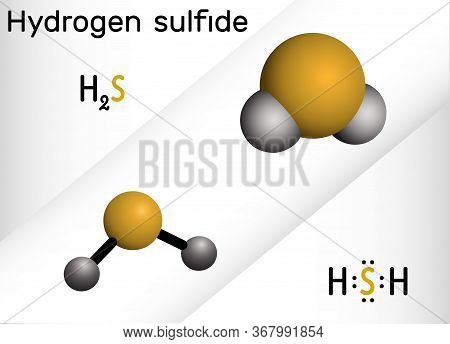 Hydrogen Sulfide, Hydrosulfuric Acid, H2s Molecule. It Is Highly Toxic And Flammable Gas With Foul O