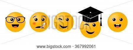 Set Of Emoticons Isolated On White Background. Vector Illustration
