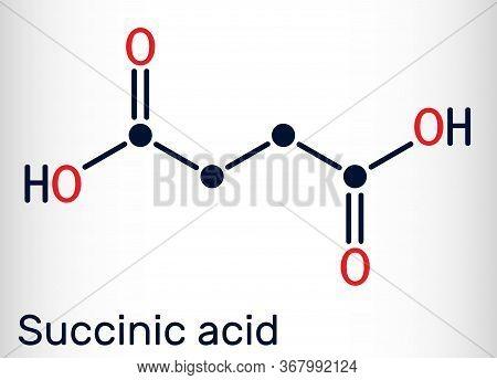 Succinic Acid, Butanedioic Acid, C4h6o4 Molecule. It Is Food Additive E363.the Anion, Succinate, Is