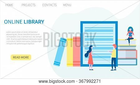 Online Library, E-book, Digital Book Store, E-reading, Online Learning, Education Concept. Landing P