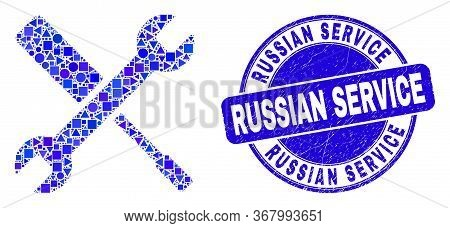 Geometric Configuration Tools Mosaic Icon And Russian Service Watermark. Blue Vector Round Distress