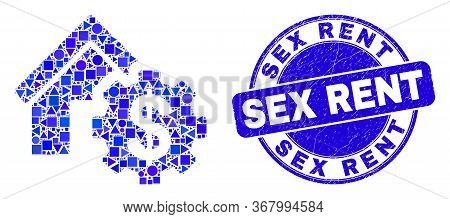Geometric House Financial Settings Mosaic Pictogram And Sex Rent Seal. Blue Vector Rounded Scratched