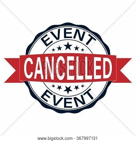Event Cancelled Vector Round Vector Rubber Stamp