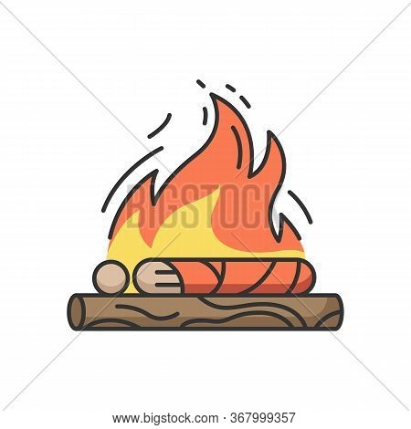 Hindu Funeral Ceremony Rgb Color Icon. Indian Customs. Antyesti Ritual. Body Cremation. Last Sacrifi