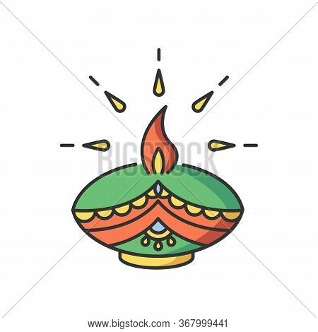 Diwali Festival Rgb Color Icon. Hindu Festival Of Lights. Traditional Diya. Indian Holiday. Clay Oil