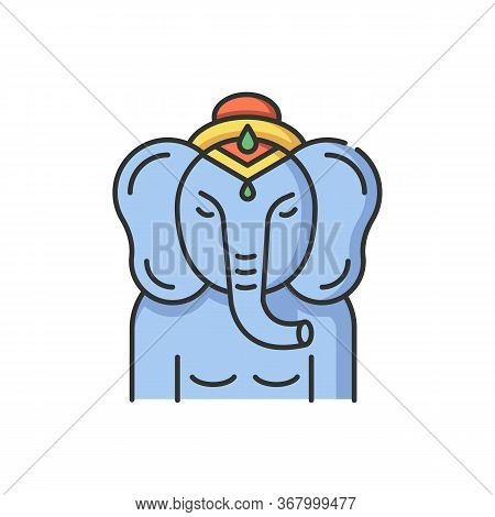 Lord Ganesha Rgb Color Icon. Supreme Deity In Hindu Pantheon. Indian Religion. Ancient Tradition. Re