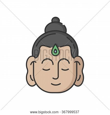 Gautama Buddha Rgb Color Icon. Indian Philosopher. Religious Leader Of Ancient India. Founder Of Bud