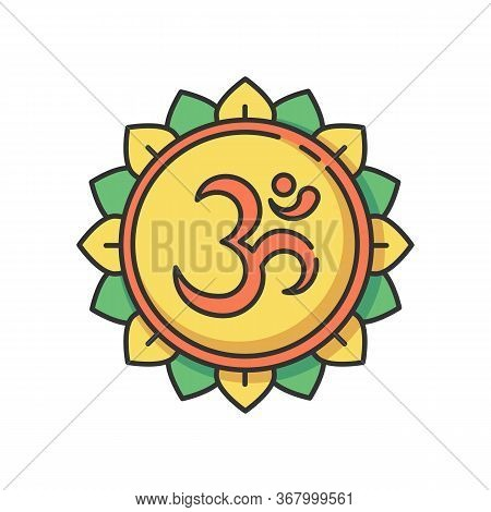 Om Rgb Color Icon. Aum Visual Representation. Sacred Syllable. Sound Of Universe. Spiritual Symbol I