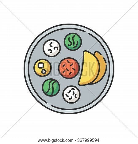 Indian Thali Rgb Color Icon. Traditional Cuisine. Asian Culture. Food Habits Of India. Chapati Bread