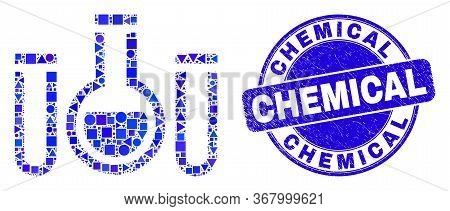 Geometric Chemical Tubes Mosaic Pictogram And Chemical Stamp. Blue Vector Round Textured Stamp With