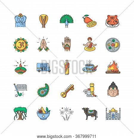 Indian Culture Rgb Color Icons Set. National Animals. Traditional Ceremonies. Religious And Spiritua