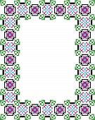 Vector mosaic frame with flowers and leaf isolated poster
