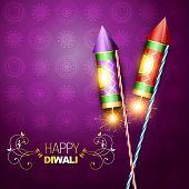 diwali festival rocket cracker on artistic background poster