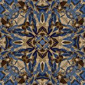 art nouveau colorful ornamental vintage pattern in blue poster