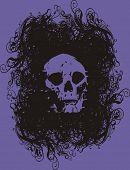 skull design - purple background - black grunge - t-shirt poster