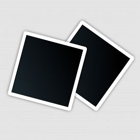 Photo Card Template With White Indent. Sample Photo Frames With Shadow On A Gray Background. Blank P