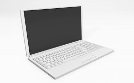 3d Rendering Of A Laptop White Colored Isolated On White Background