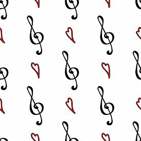 Black Red Treble Clef Heart Love Music Line Art Seamless Pattern Vector