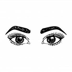 Monochrome Black And White Fashion Woman Girl Portrait Sketched Line Art Vector