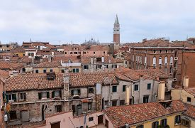 View From The Top Spiral Staircase Of Scala Contarini Del Bovolo. Venice, Italy.