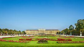 Vienna/ Austria - October 10 2014: Scenic view at Schonbrunn Palace (Schloss Schoenbrunn), imperial summer residence and Great Parterre garden.
