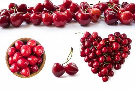 Red Cherries Isolated On White Cutout. Berry With Copy Space For Text. Various Fresh Summer Fruits I