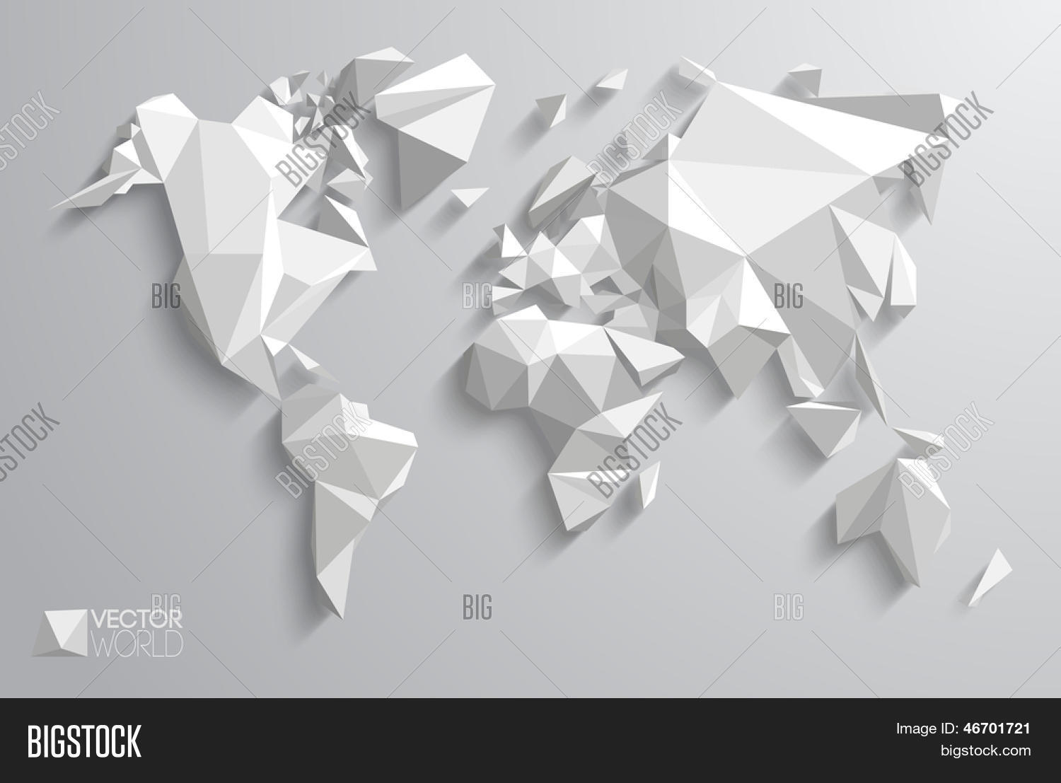 Triangle Pattern Continents With Vector Shadows