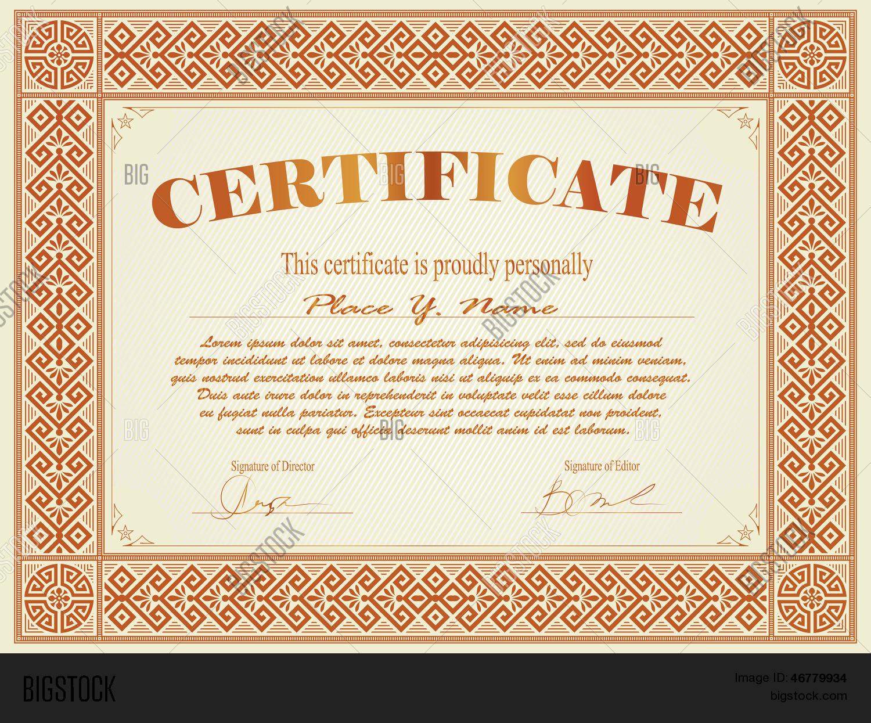 Vintage Frame, Certificate Diploma Vector & Photo   Bigstock