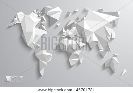 Vector world map design. Triangle pattern continents with vector shadows.