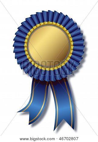 Blue award over white