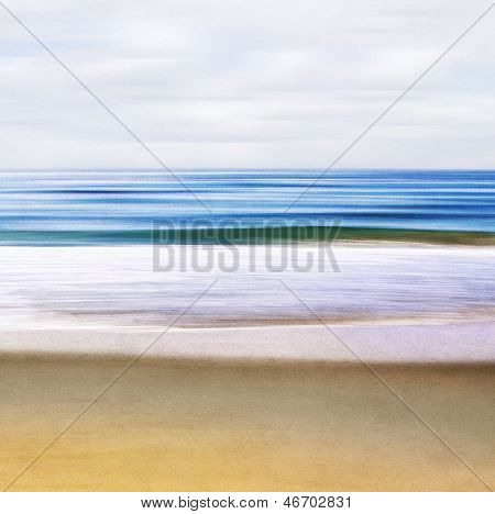 An abstract ocean seascape with blurred motion. Image displays a paper texture and pleasing grain pattern when viewed at 100%. poster
