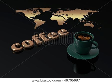 Cup Coffee With Golden Text Coffee On Black Background