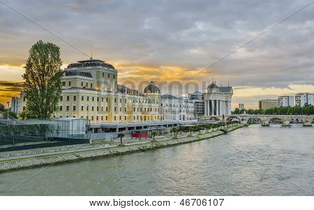beautiful sunrise view of museum of VMRO and stone bridge