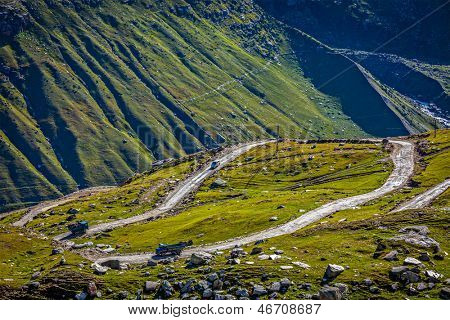 Road in Himalayas. Rohtang La pass, Lahaul valley, Himachal Pradesh, India