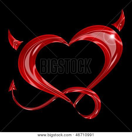 red heart with tail and horns