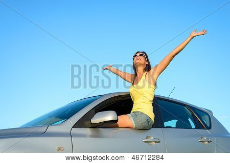 Female Driver Bliss On Car
